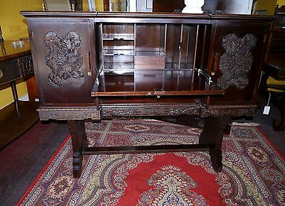 Superb Chinese Carved Teak Bureau Cabinet - C1910 - Matching Cabinet Also Listed