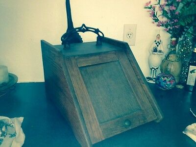 Antique Wood Coal Scuttle Box & Scoop- Great Patina