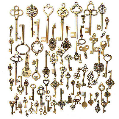 Set of 70 Antique Vintage Old Look Bronze Skeleton Keys Fancy Heart Bow PendantT