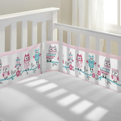 BreathableBaby Classic Breathable Owl Fun Pink Mesh Crib Liner