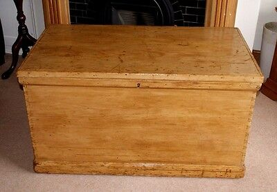 A Lovely Antique Large Victorian Pine Dovetailed Blanket Box + Candle Box, Toy