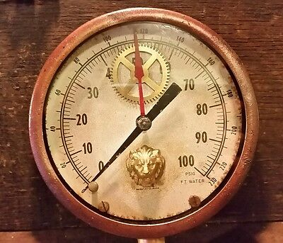 """Vintage Altered 4.5"""" Cast Iron Gauge Usa Made Gears Lion Added Steampunk Parts"""