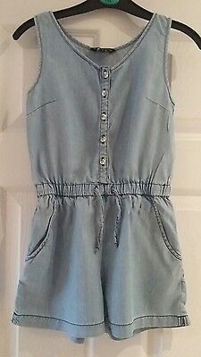 Girls denim look cotton playsuit from Candy Couture at Matalan aged 9 years