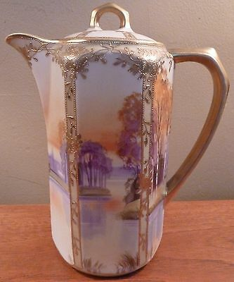 Elegant antique Nippon scenic landscape and gold tea, coffee or chocolate pot