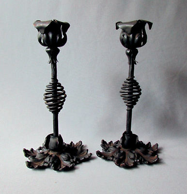 Matched Pair ANTIQUE Cast Iron and Hand Forged CANDLESTICKS circa 1900