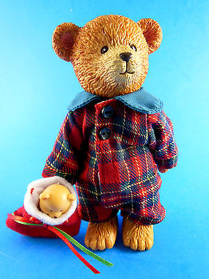 """RUSS BERRIE TEDDY TOWN 5"""" JOINTED Resin Christmas with stocking ADORABLE!"""