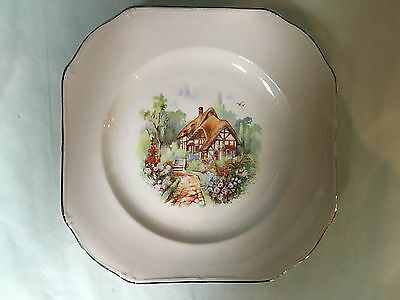 "Vintage Taylor Smith Taylor Co. 9"" Pink Square Plate Hand Painted"