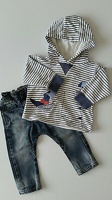 *** NEXT baby boys bundle of denim trousers and hoodie age  12-18 months