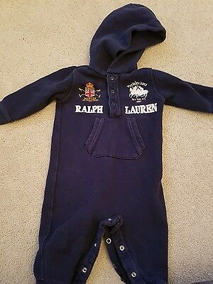 Baby boys Ralph hooded playsuit
