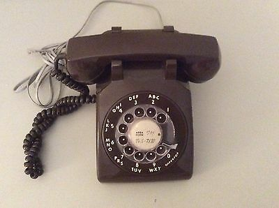 Bell System Vintage Brown Rotary Dial Desk Telephone