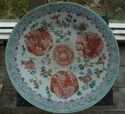 Large Chinese Qing 19th Century Famille Rose Porcelain Charger