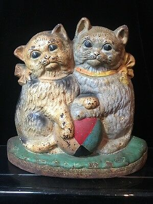 Hubley LACS 715 Two Kittens Cats Cast Iron Doorstop Vintage Antique