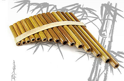 Handmade Wood Pan Flute Professional Beginners Student 15 Pipes Bamboo Tone G