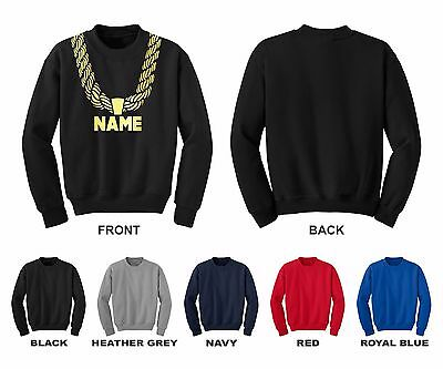 Gold Chain Custom Personalized Name Hip Hop Funny Youth Crewneck Sweatshirt