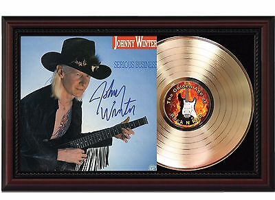 Johnny Winter - 24k Gold LP Record With Reprint Autograph In Cherry Wood Frame