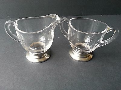 Antique Vintage Sterling Silver And Glass Sugar Bowl And Creamer Set