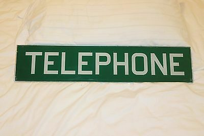 Original 1960S Vintage Glass Telephone Booth Insert Panel Sign Green White