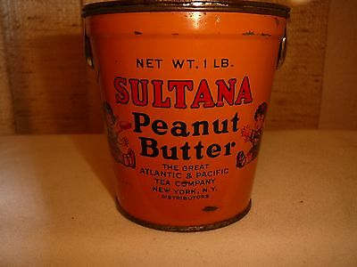 "Vintage 1Lb ""sultana'  Peanut Butter Tin..boy & Girl Having Sandwiches"