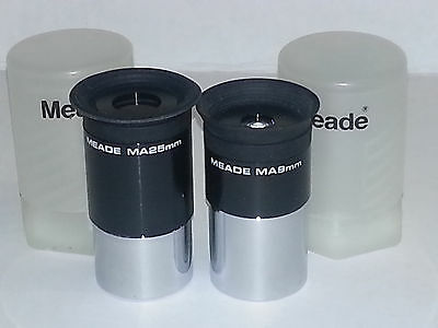 "Meade MA25 25mm & MA9 9mm 1.25"" Telescope Eyepiece Kit - Excellent Condition!"