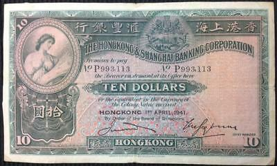 Hong Kong Hong Kong and Shanghai Banking Corporation $10 - 1.4.1941