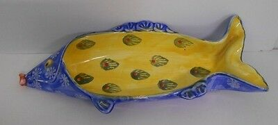 Vintage 80's~Hand Painted in Italy~Glazed Ceramic Multi Color Fish Candy Dish