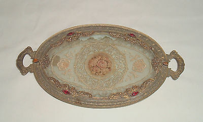 Antique Silvercraft Jeweled 22 K Solid Plate Victorian Filigree Vanity Tray