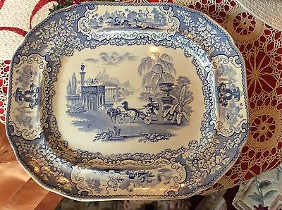 Antique Staffordshire Triumphal Car. -Blue And White Platter-Beautiful!