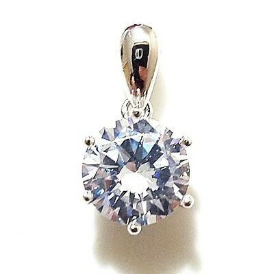 Pre-Order Solid 14K White Gold 2 Ct Round Solitaire Diamond Pendant Charm Gift