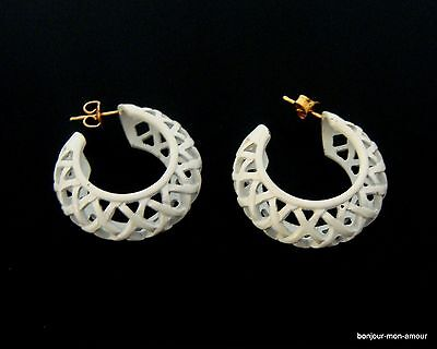 1960's Weiß matt emaillierte Retro Vintage Creolen Ohrstecker Ohrringe, Earrings