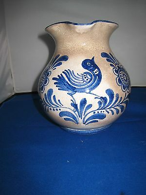 Antique Stoneware Cobalt Blue Pattern Pitcher Jug