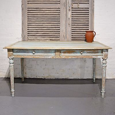 Painted French Shabby Chic Rustic Farmhouse Vintage Desk / Dining Table