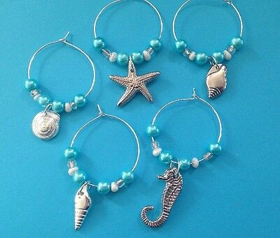 Beach Wine Glass Charms Shell Starfish Tropical Seahorse Wedding Gift Favour X 5