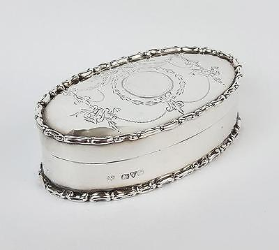 Fine STERLING SILVER Oval TRINKET BOX Chester 1915 Nathan & Hayes