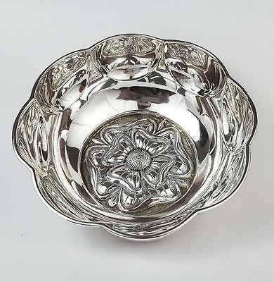Fine STERLING SILVER English Rose SUGAR BOWL Chester 1911 Nathan & Hayes