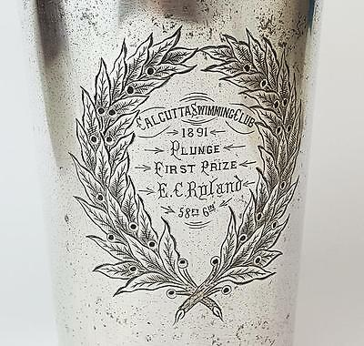 Victorian CALCUTTA SWIMMING CLUB Plunge TROPHY TANKARD c1891 Silver Plated