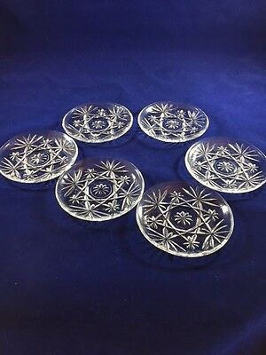 Early American Glass Prescut Star of David Snack Dishes--Set of Six