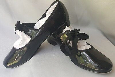 ABT American Ballet Theater Tap Dance Shoes Black Patent Tie Size 1 kid(Toddler)