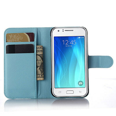 Luxury PU Leather Wallet Stand Case Soft Cover For Samsung Galaxy J3 Emerge Blue