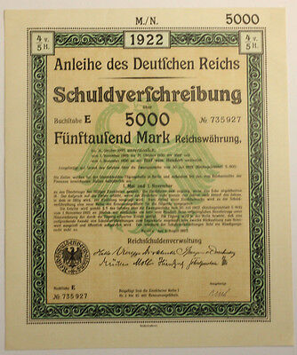1922 German 50 consecutive 5k Treasury Bonds With Uncancelled Interest Coupon