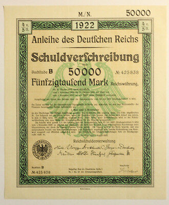 1922 German 100 consecutive 50k Treasury Bonds With Uncancelled Interest Coupon