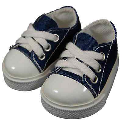 "6 PAIR =DOLL SHOES FOR 18"" American Girl dolls -Blue Denim Sneaker WHOLESALE LOT"