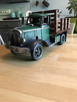 "Metal Collectors Truck chevy ford vintage look wooden bed pick up 15.5 "" decor"