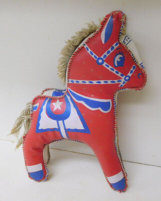 Vintage Red White Blue Carnival Prize Stuffed Toy Horse Animal