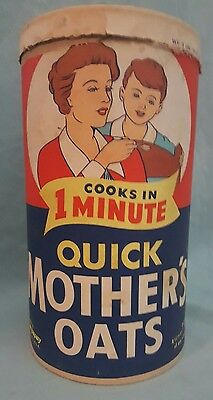 Vintage Display Quick Mothers Oats Container w Lid Quaker Oats Co    Advertising