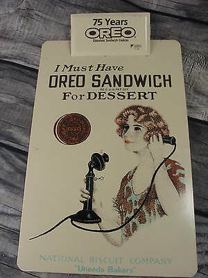 OREO COOKIE ICE CREAM SANDWICH Advertising Clipboard Nabisco 75Yrs Sign 1986 VTG