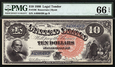 $10 1880 Legal Tender FR 106 PMG 66 EPQ TIED FOR THE FINEST KNOWN JACKASS NOTE