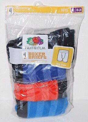 Boys XL Boxer Briefs 4 Pair 18-20 Striped Fruit Of The Loom Open Package