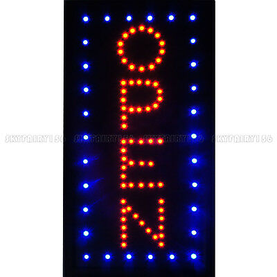 "19x10"" Vertical Animated LED Open Business Cafe Bar Store Shop Window Sign"