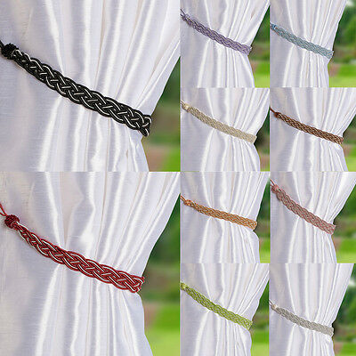1Pair Braided Satin Rope Curtain Weaving Color Matching Hang Curtain Rope S