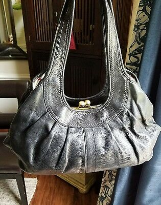 Coach Ergo Black Tattersall Pleated Leather Frame Satchel Purse Bag Tote
